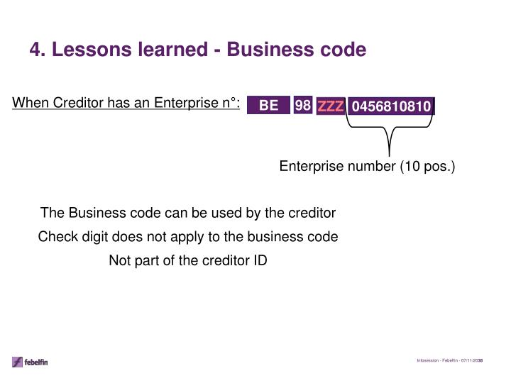4. Lessons learned - Business code