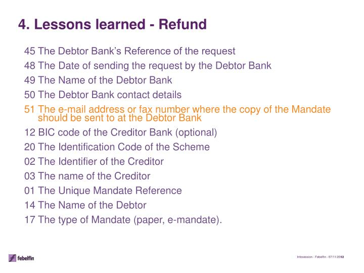 45The Debtor Bank's Reference of the request