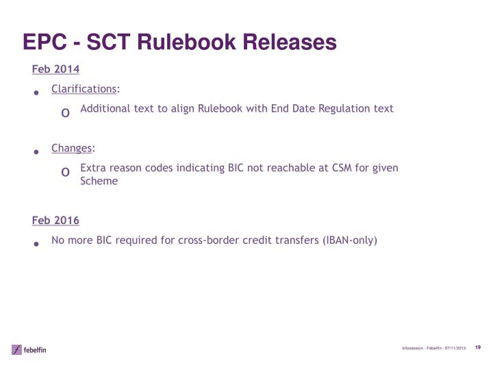 EPC - SCT Rulebook Releases