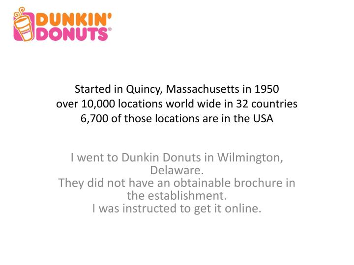 Started in Quincy, Massachusetts in 1950