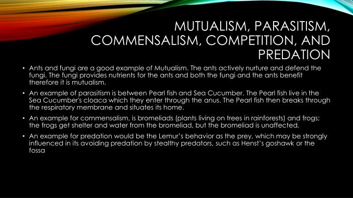 Mutualism, Parasitism, Commensalism, Competition, and Predation