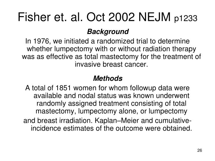 Fisher et. al. Oct 2002 NEJM