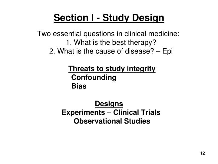 Section I - Study Design