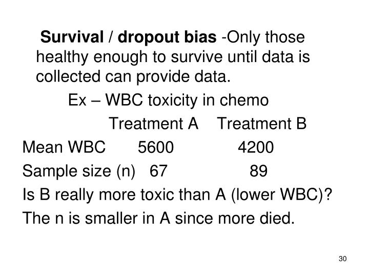 Survival / dropout bias