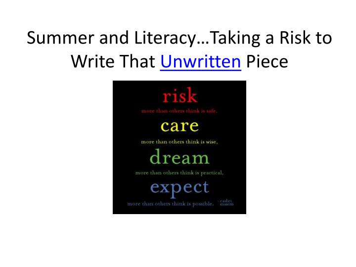 Summer and Literacy…Taking a Risk to
