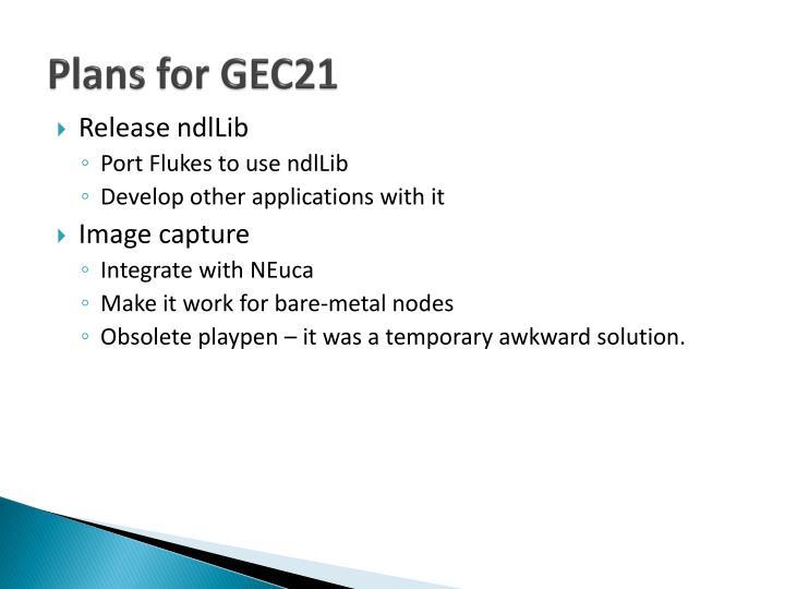 Plans for GEC21