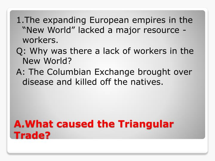 "1.The expanding European empires in the ""New World"" lacked a major resource - workers"