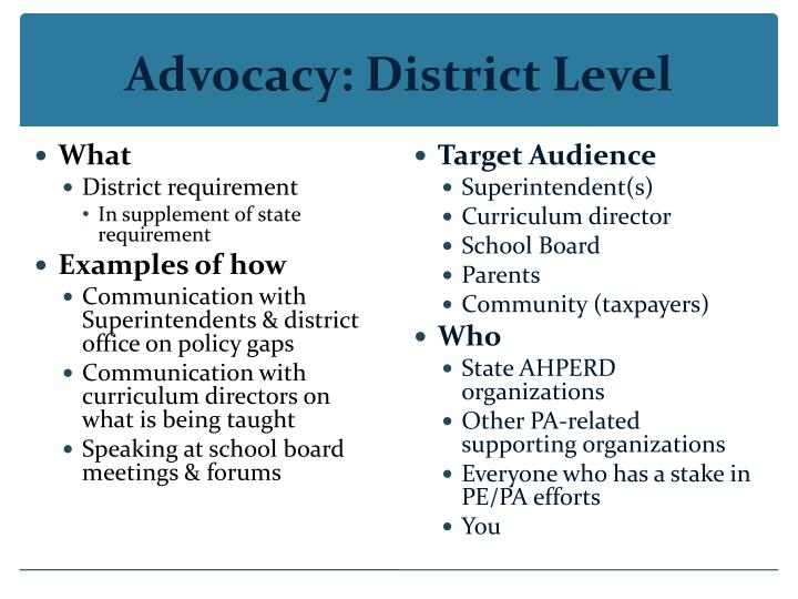 Advocacy: District Level