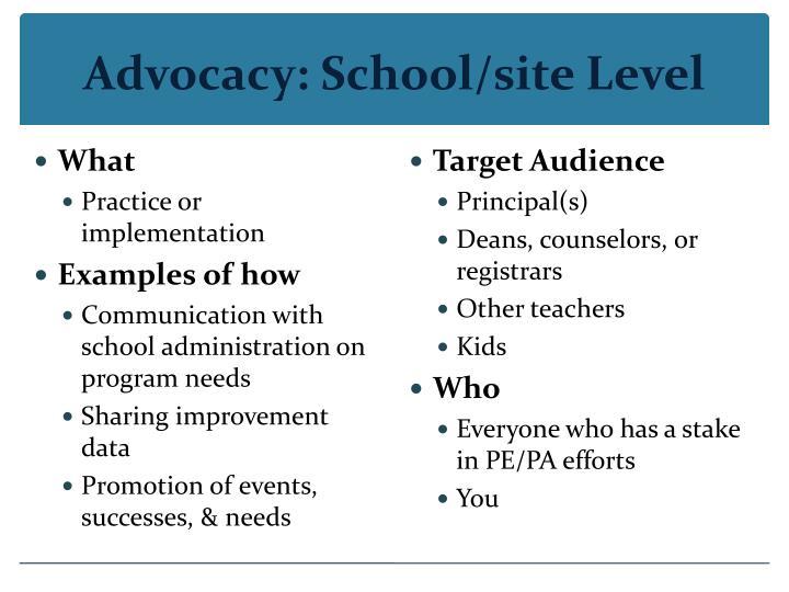 Advocacy: School/site Level