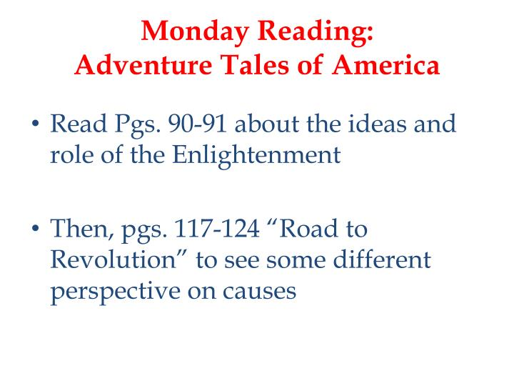 Monday reading adventure tales of america