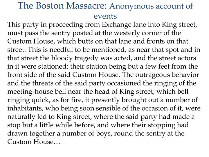 The Boston Massacre: