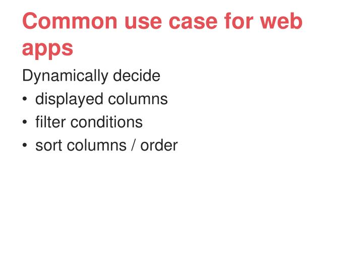 Common use case for web apps