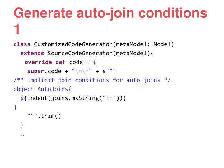 Generate auto-join conditions 1