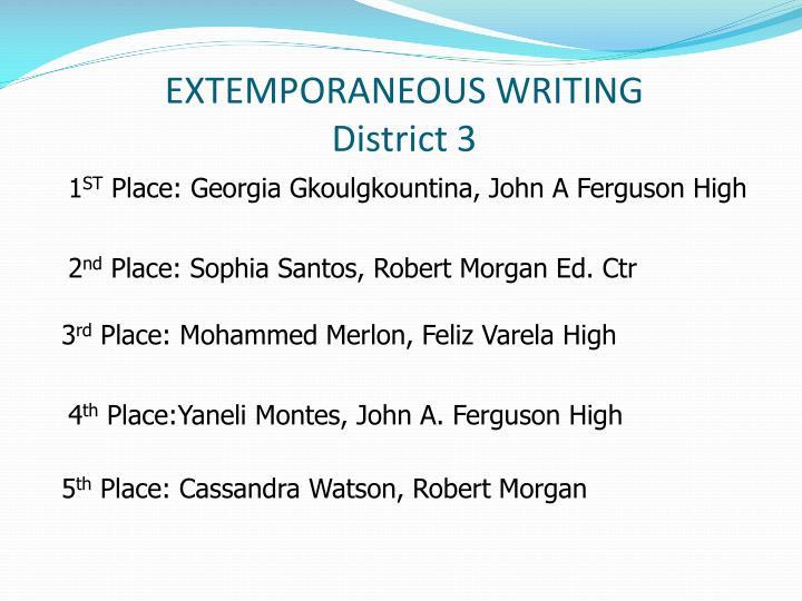 EXTEMPORANEOUS WRITING
