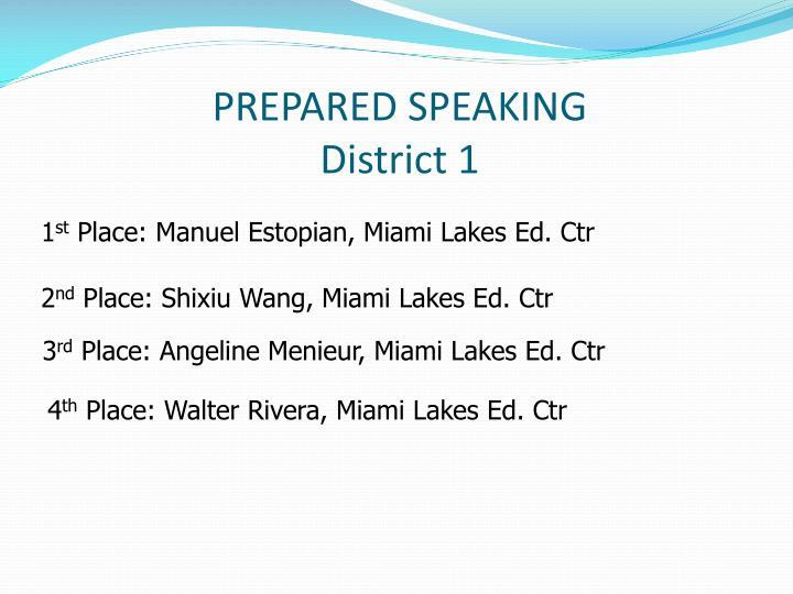 PREPARED SPEAKING