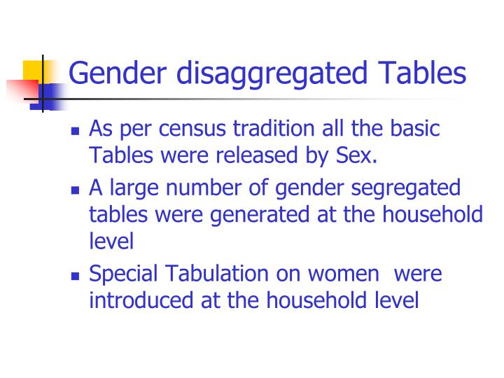 Gender disaggregated Tables