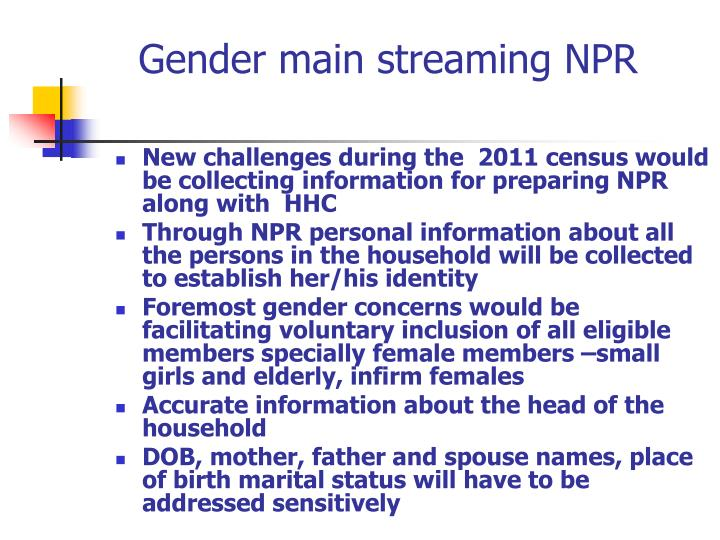 Gender main streaming NPR