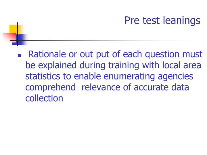 Pre test leanings