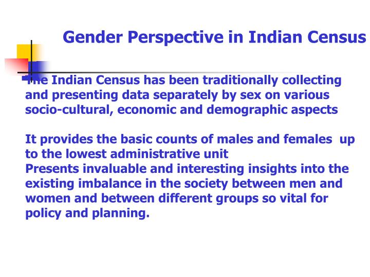 Gender Perspective in Indian Census