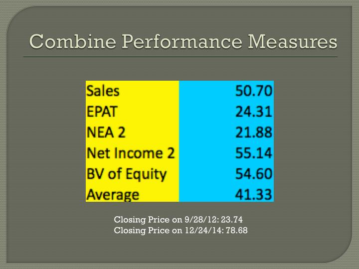 Combine Performance Measures