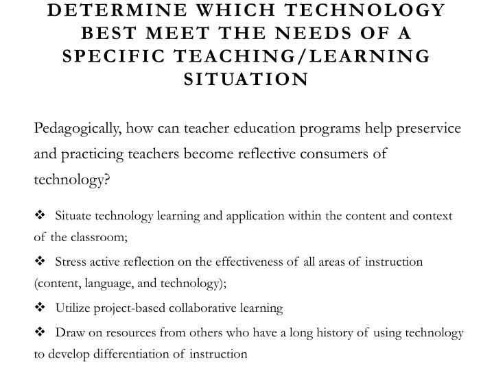 Determine which technology best meet the needs of a specific teaching/learning situation