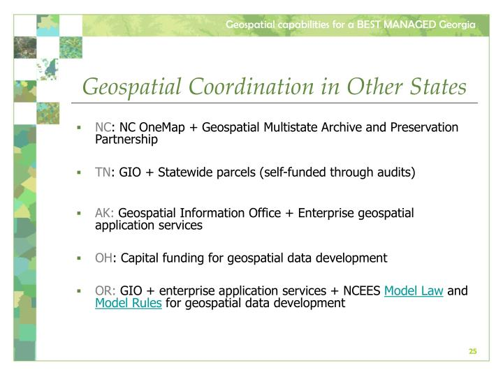 Geospatial Coordination in Other States