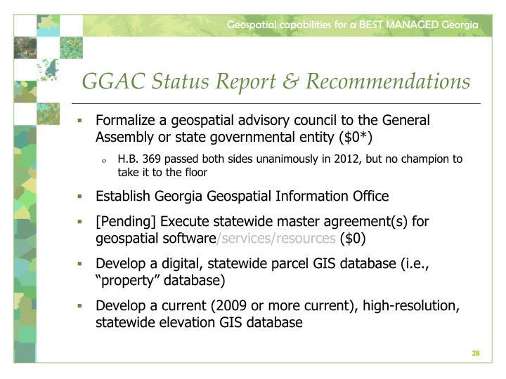 GGAC Status Report & Recommendations