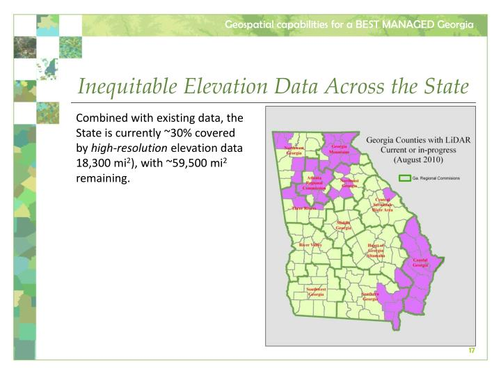Inequitable Elevation Data Across the State