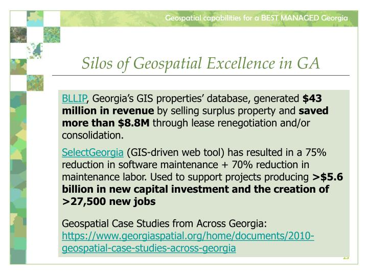 Silos of Geospatial Excellence in GA