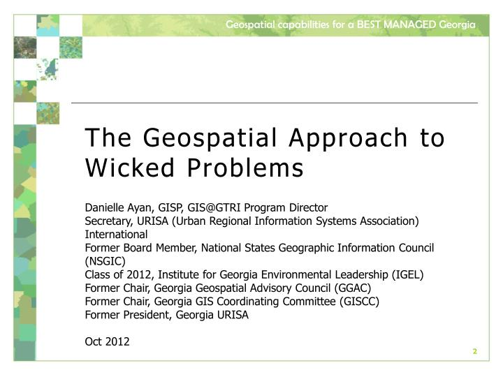 The Geospatial Approach