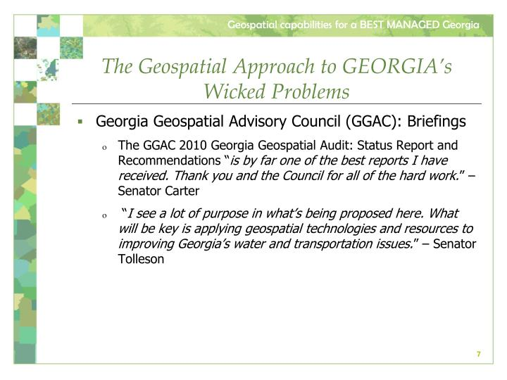 The Geospatial Approach to GEORGIA's Wicked Problems