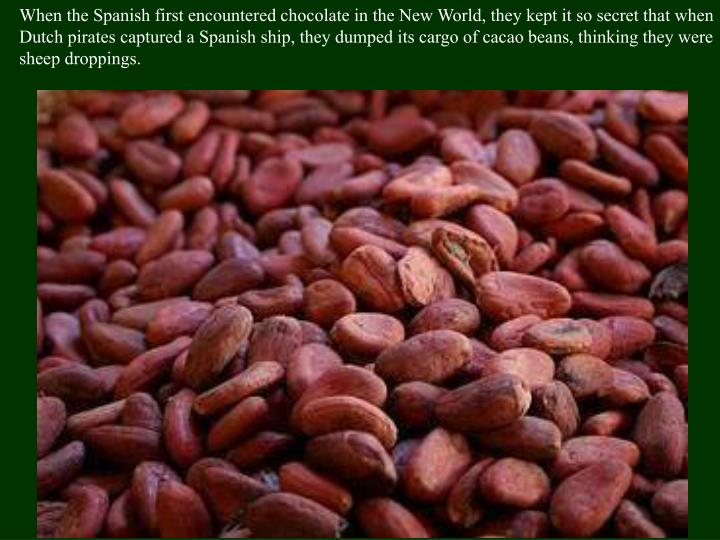 When the Spanish first encountered chocolate in the New World, they kept it so secret that when Dutch pirates captured a Spanish ship, they dumped its cargo of cacao beans, thinking they were sheep droppings.