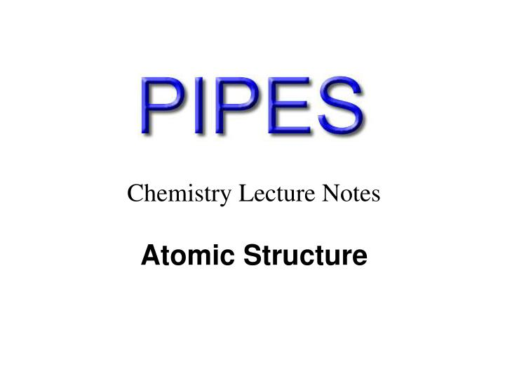 Chemistry Lecture Notes