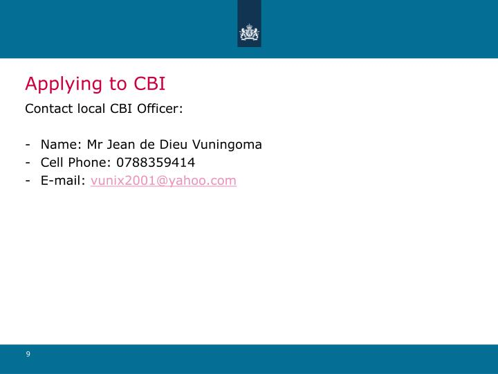 Applying to CBI