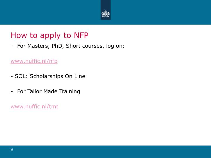 How to apply to NFP