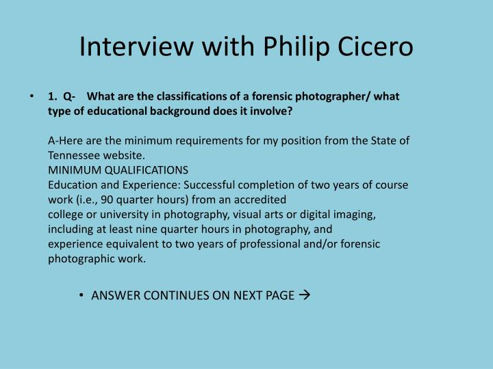 Interview with Philip Cicero