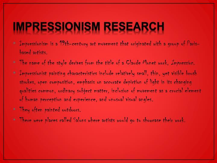 Impressionism Research