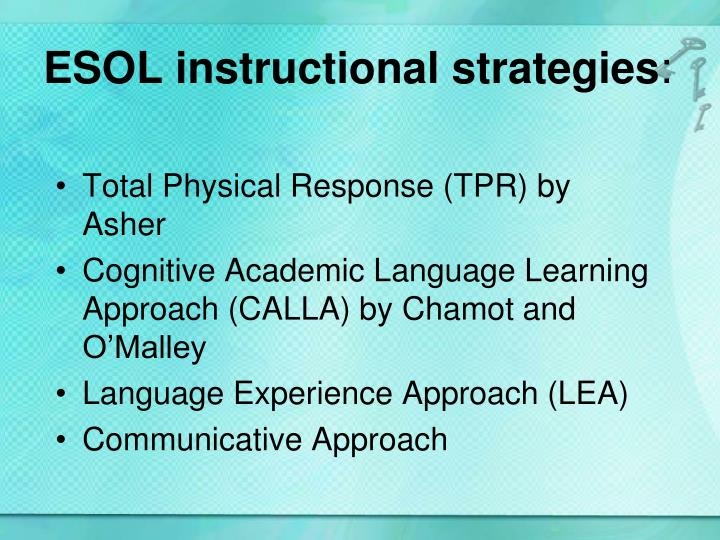 ESOL instructional strategies