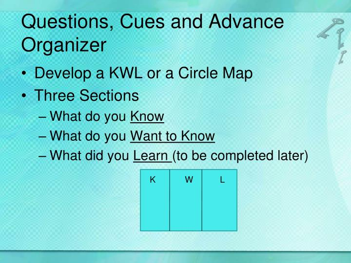 Questions, Cues and Advance Organizer