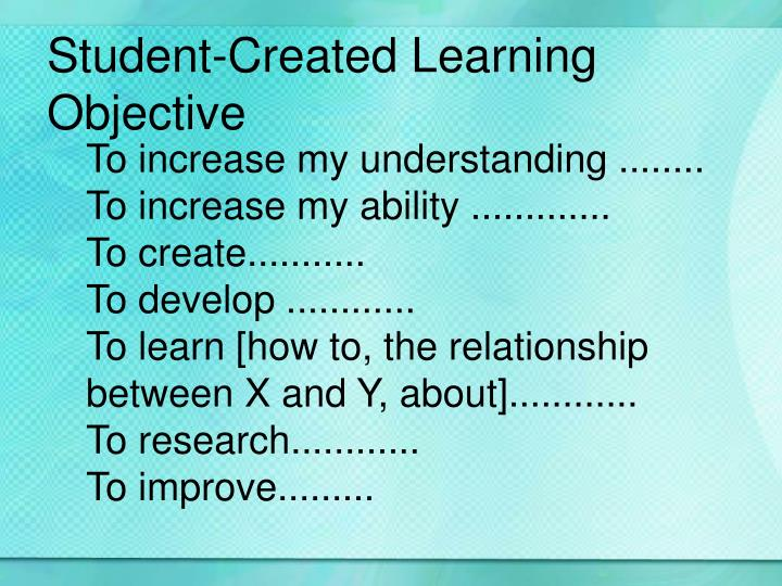 Student-Created Learning Objective