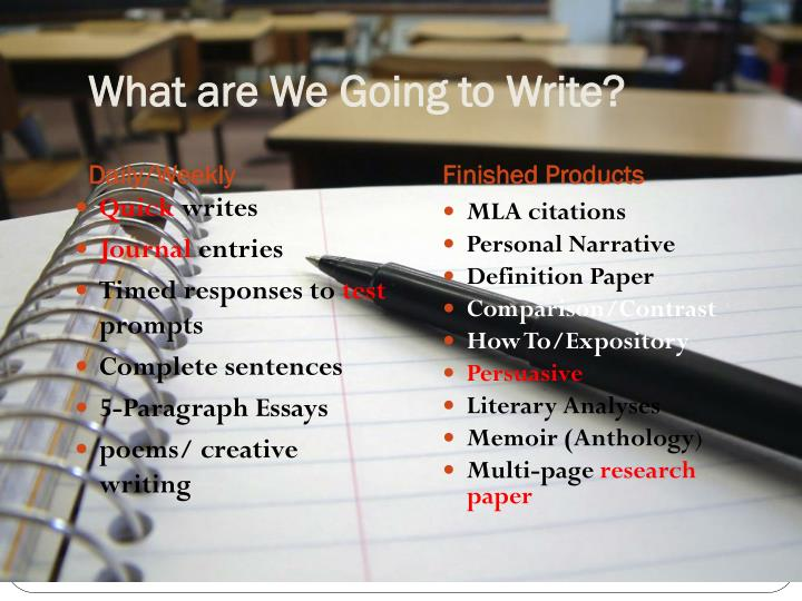 What are We Going to Write?