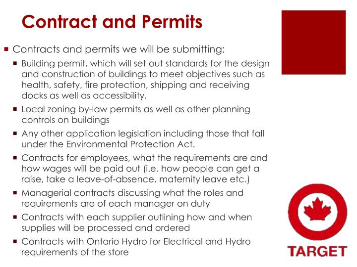 Contract and Permits