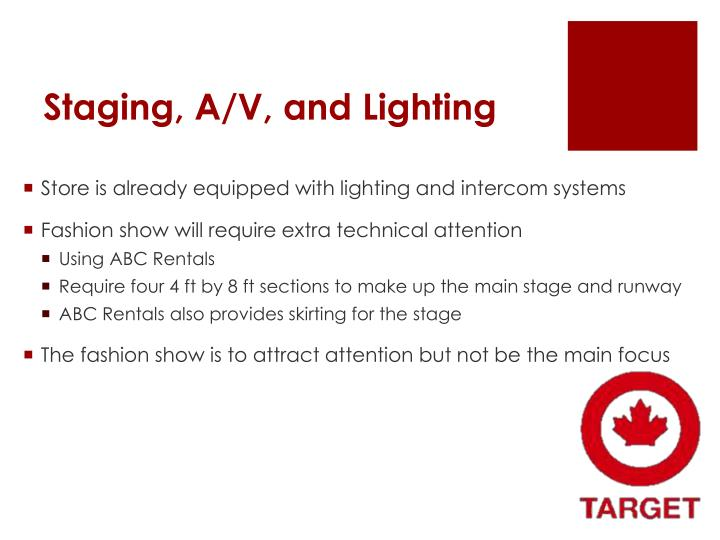 Staging, A/V, and Lighting