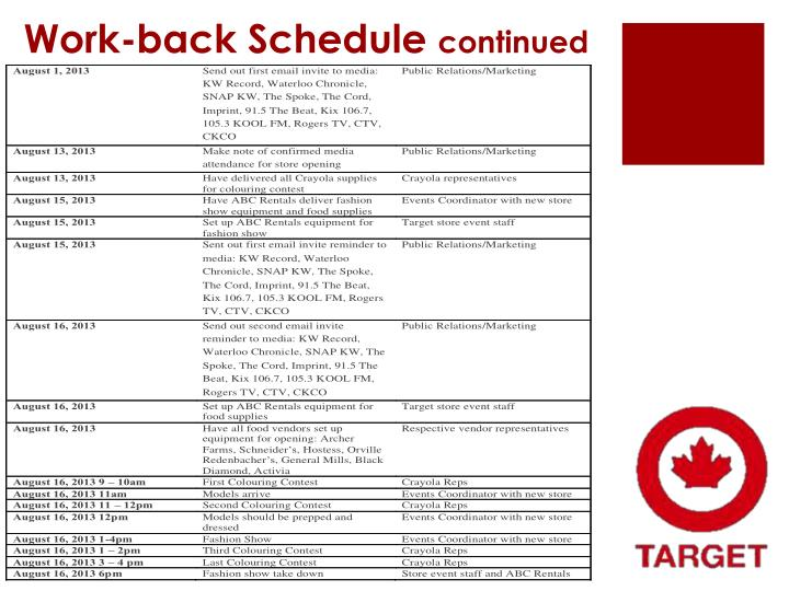 Work-back Schedule