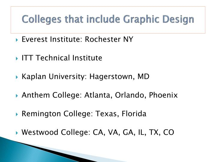 Colleges that include Graphic Design