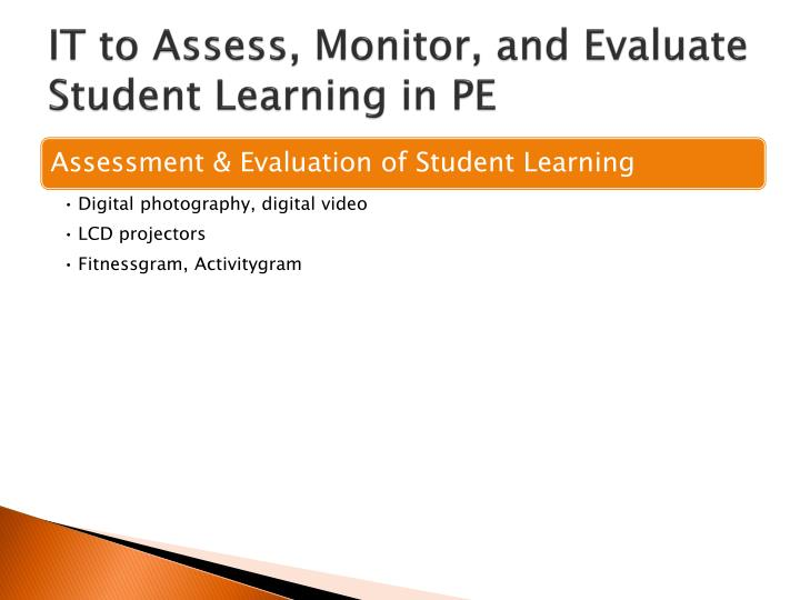 IT to Assess, Monitor, and Evaluate Student Learning in PE