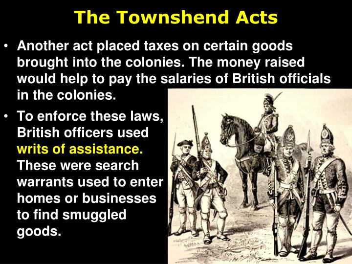 an analysis of the townshend acts Opposition to the act by lord rockingham, the british prime minister one reason that the colonists protested passage of the townshend acts was that the acts: made it impossible for colonial assemblies to control royal officials by threatening to cut off their salaries.