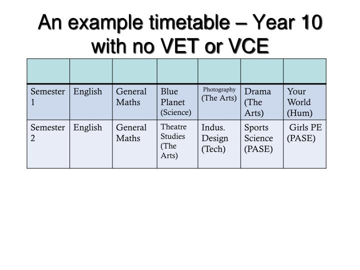 An example timetable – Year 10 with no VET or VCE