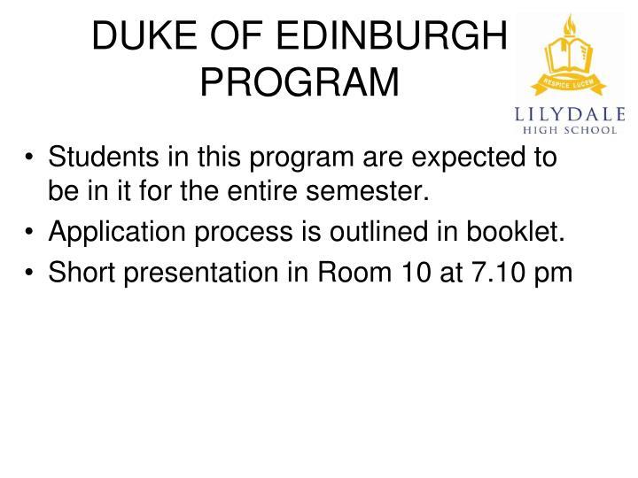DUKE OF EDINBURGH PROGRAM