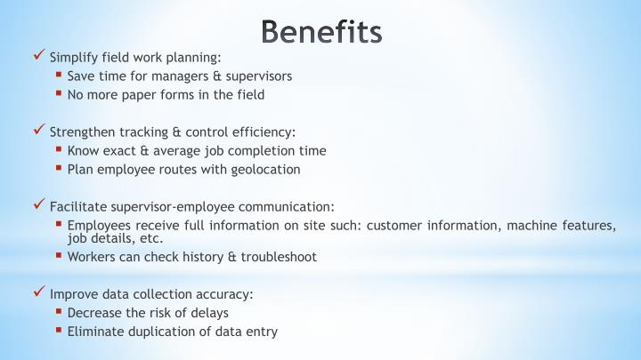 Simplify field work planning: